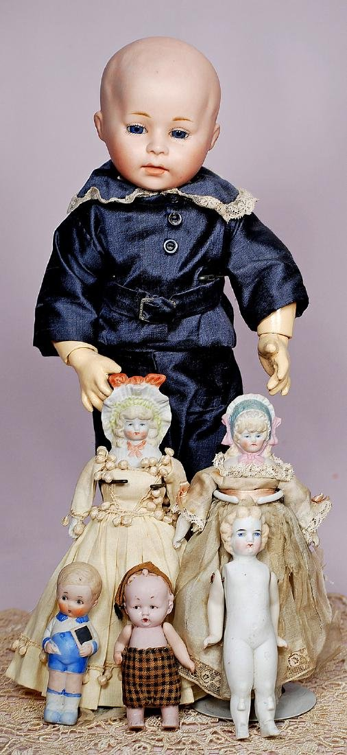 302. FIVE SMALL BISQUE DOLLS & BISQUE ARTIST'S DOLL