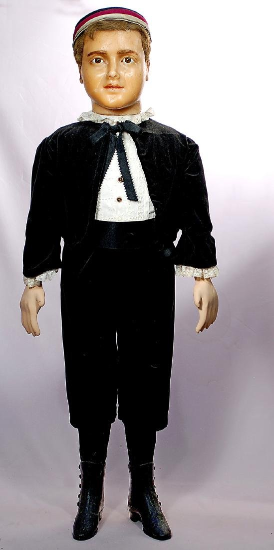 "304. FRENCH POURED WAX MANNEQUIN. 43"". Poured wax head"
