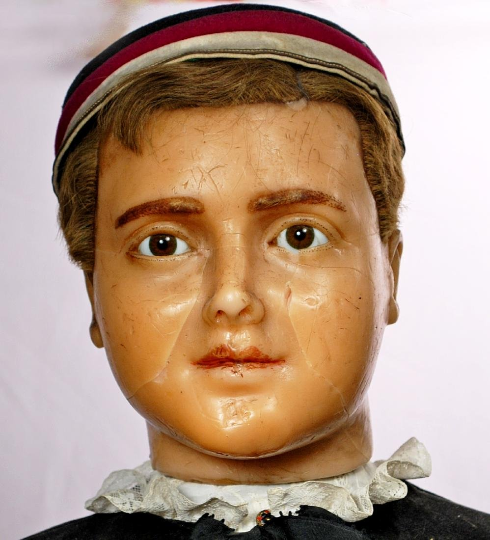 "304. FRENCH POURED WAX MANNEQUIN. 43"". Poured wax head - 2"