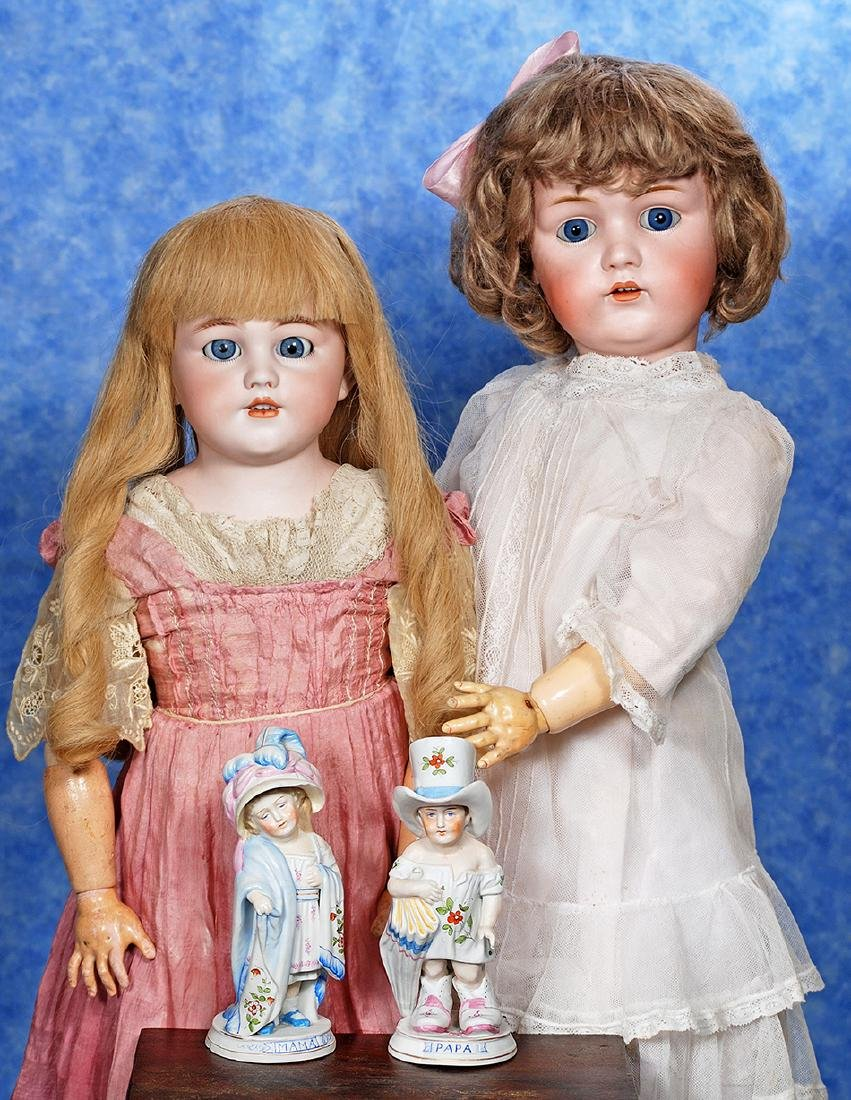"""35. GERMAN BISQUE """"MAMA AND PAPA"""" FIGURINES"""