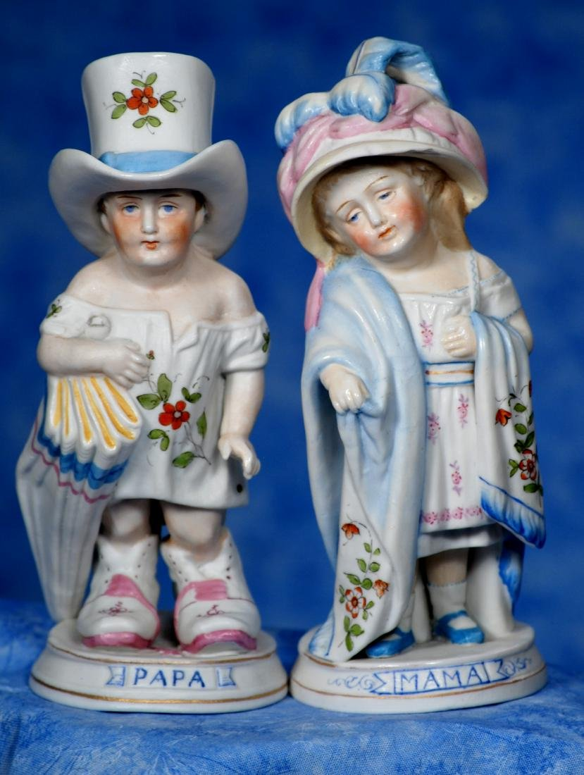 """35. GERMAN BISQUE """"MAMA AND PAPA"""" FIGURINES - 2"""
