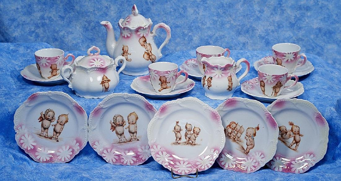 49. KEWPIE PORCELAIN TEA SERVICE. Twenty piece white