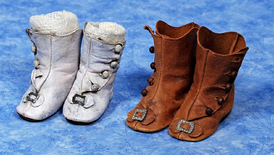 """52. TWO PAIR OF ANTIQUE DOLL BOOTS. 2 ½"""" L."""