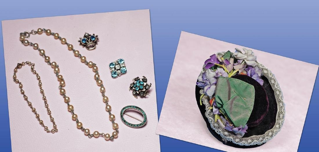 55. ANTIQUE DOLL BONNET & JEWELRY. Jewelry includes
