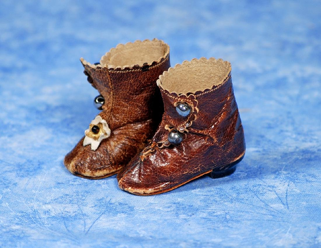 63. PAIR OF ANTIQUE FRENCH FASHION BOOTS. Marks: B 2.