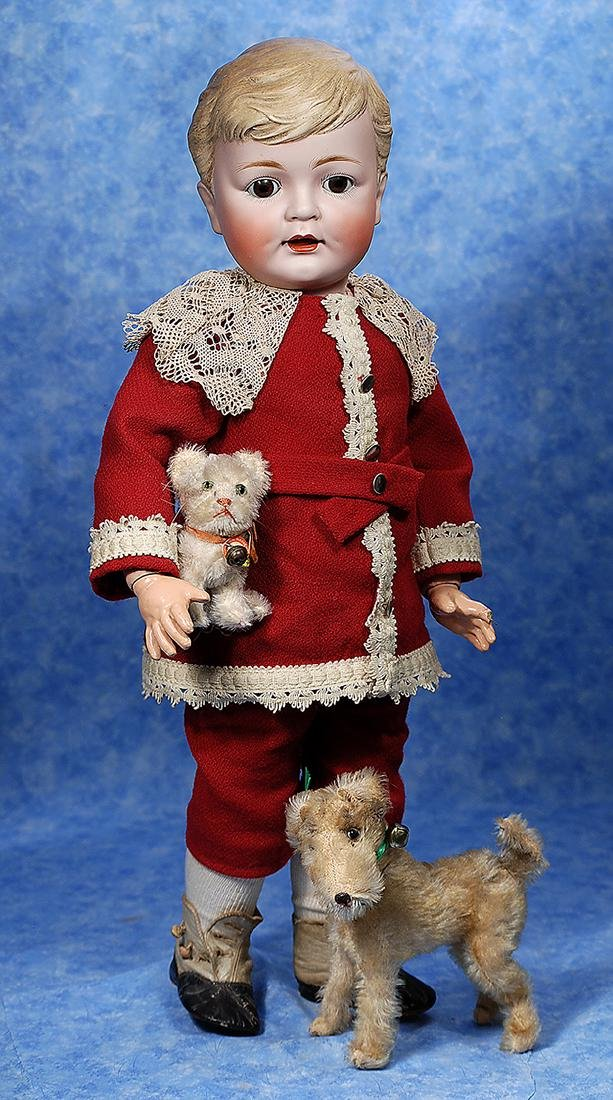 73. LARGE GERMAN BISQUE CHARACTER WITH SCULPTED HAIR -