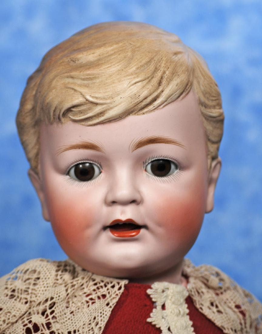 73. LARGE GERMAN BISQUE CHARACTER WITH SCULPTED HAIR - - 2