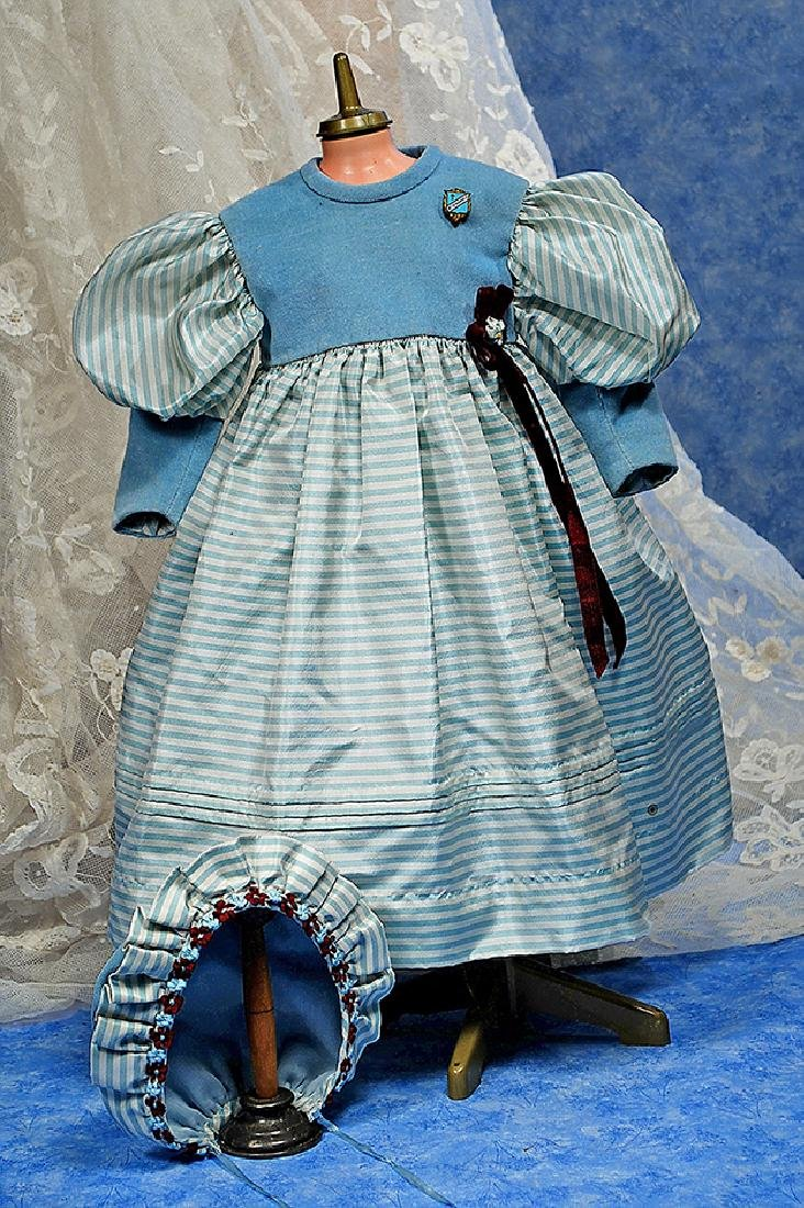 76. SILK DOLL DRESS WITH MATCHING BONNET. Pale blue and