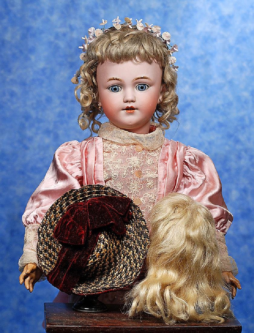 78. ANTIQUE DOLL BONNET AND MOHAIR WIG. Tri-color straw