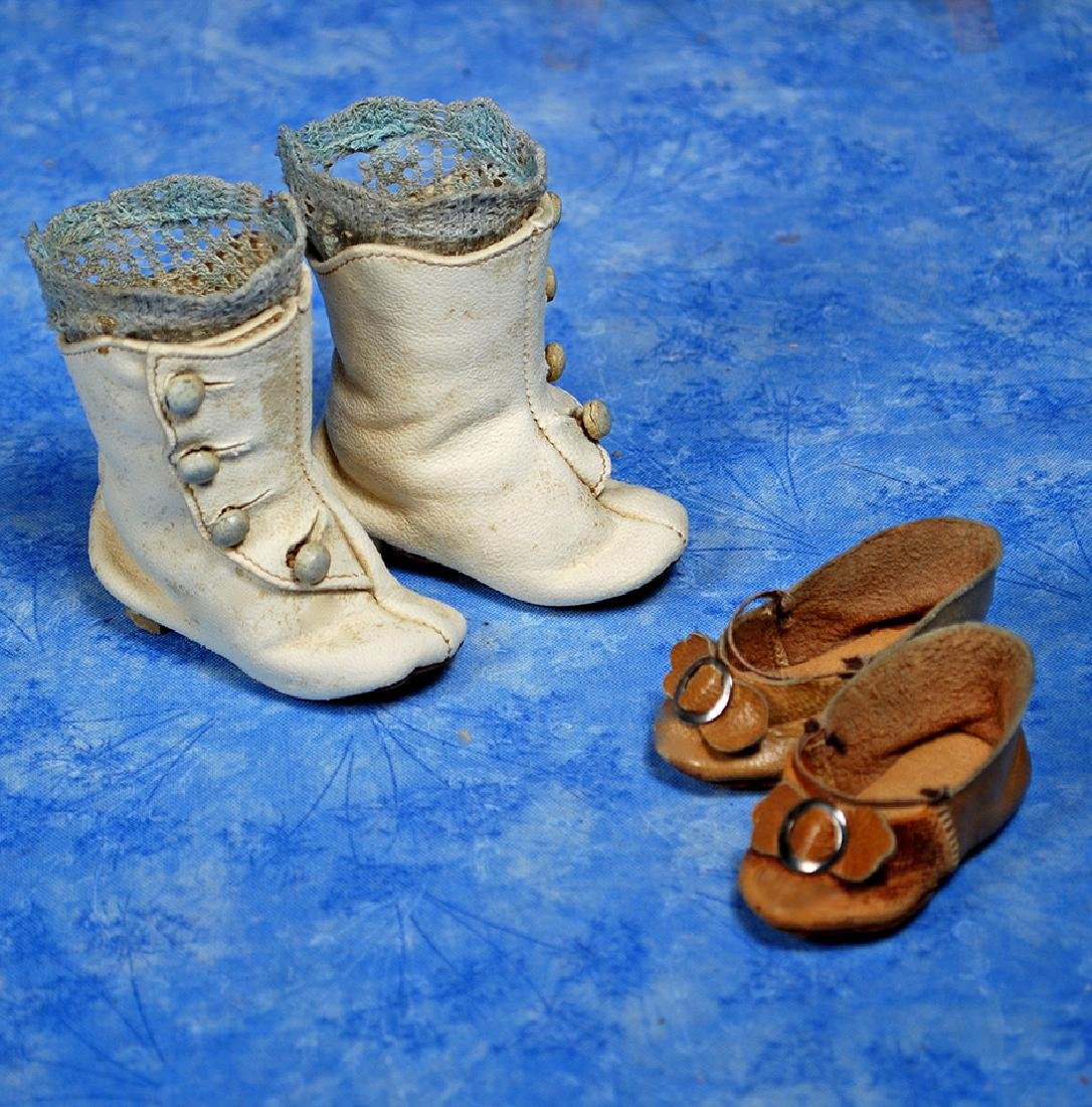 84. ANTIQUE DOLL BOOTS AND DOLL SHOES. Pair of white