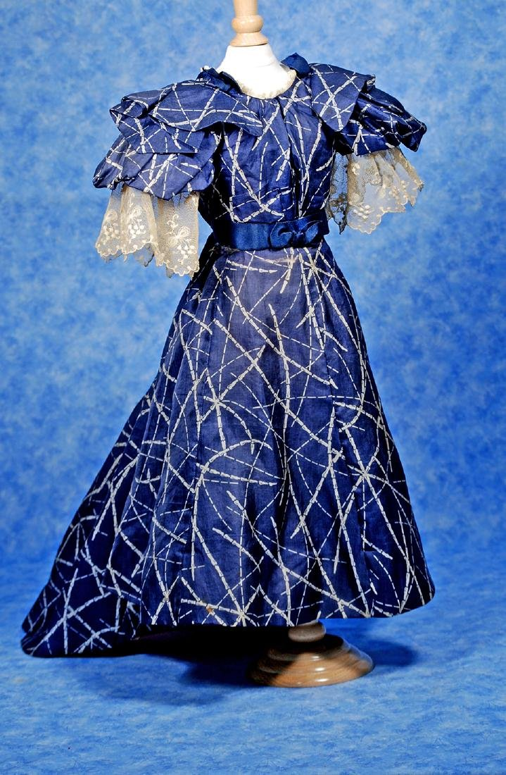 88. ANTIQUE SILK GOWN FOR LADY DOLLS. Two piece gown of