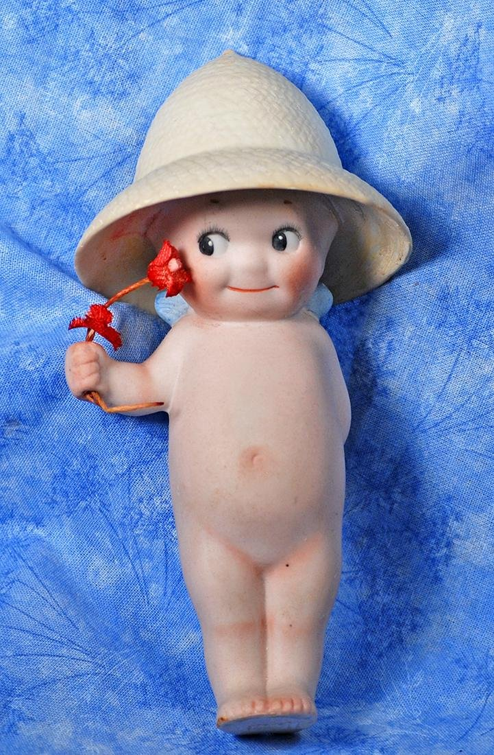 "93. GERMAN BISQUE KEWPIE GARDENER. 4 ¾""."