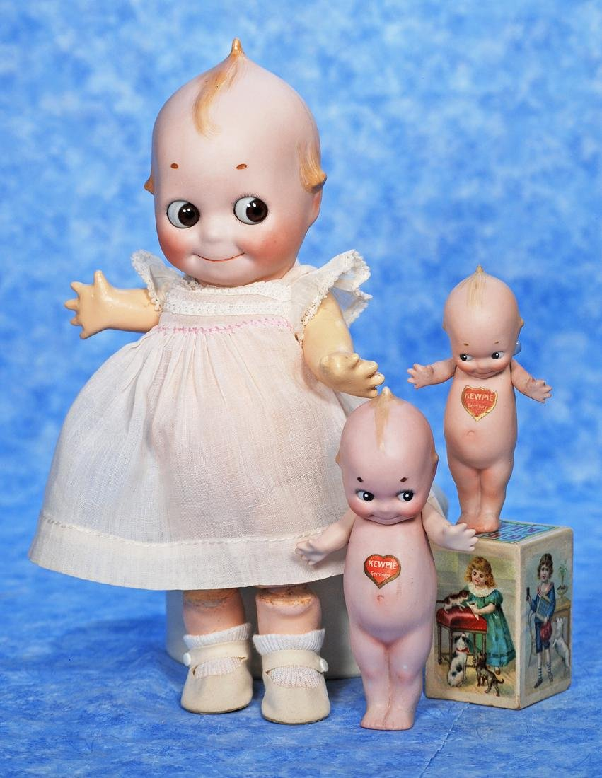 "96. TWO GERMAN BISQUE KEWPIES. 5"" and 6""."
