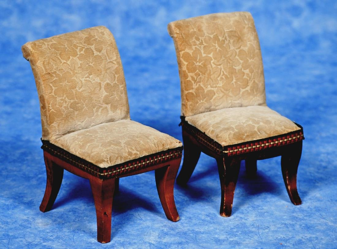 """117. PAIR OF ANTIQUE DOLL CHAIRS. 6"""". Wooden - 2"""