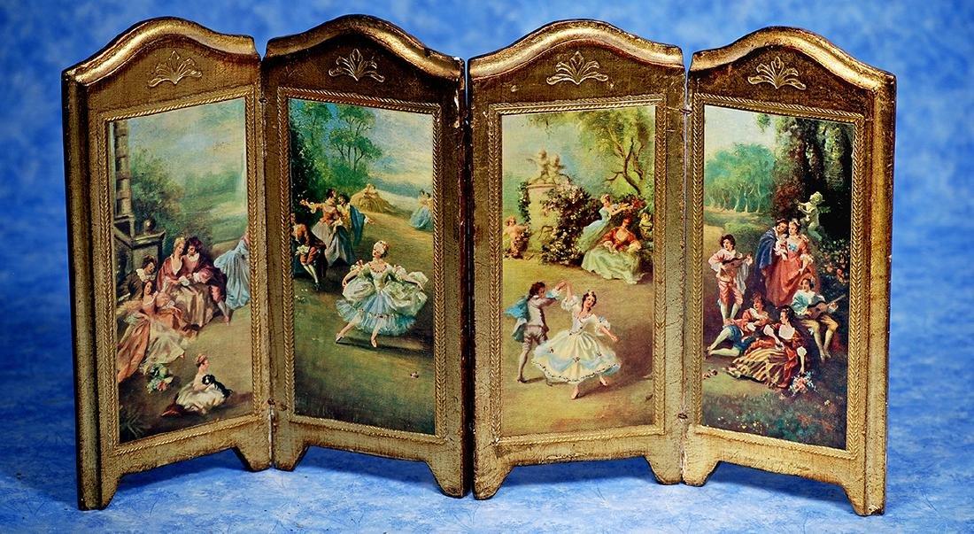 118. GILT FLORENTINE FOLDING SCREEN. Four panel folding