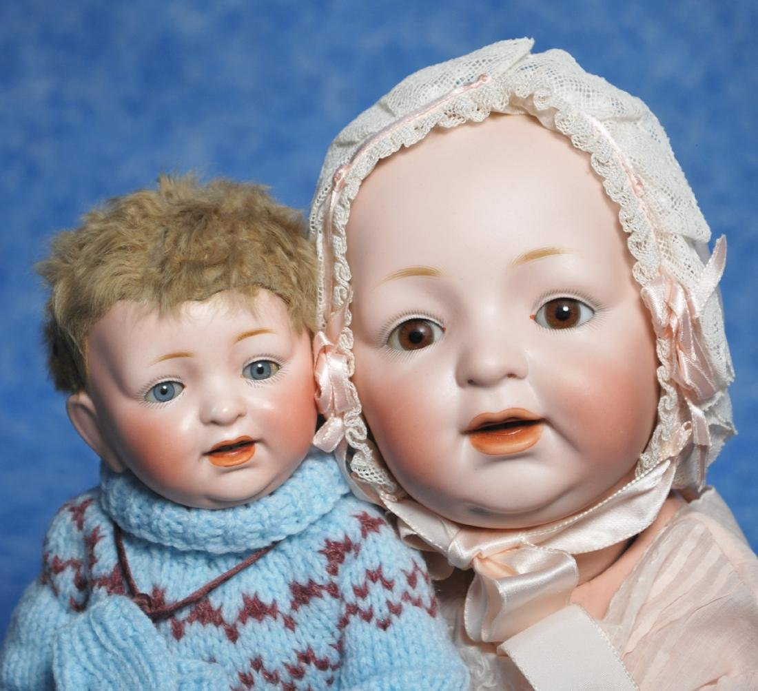 131. TWO GERMAN BISQUE CHARACTER BABIES BY KESTNER. - 2