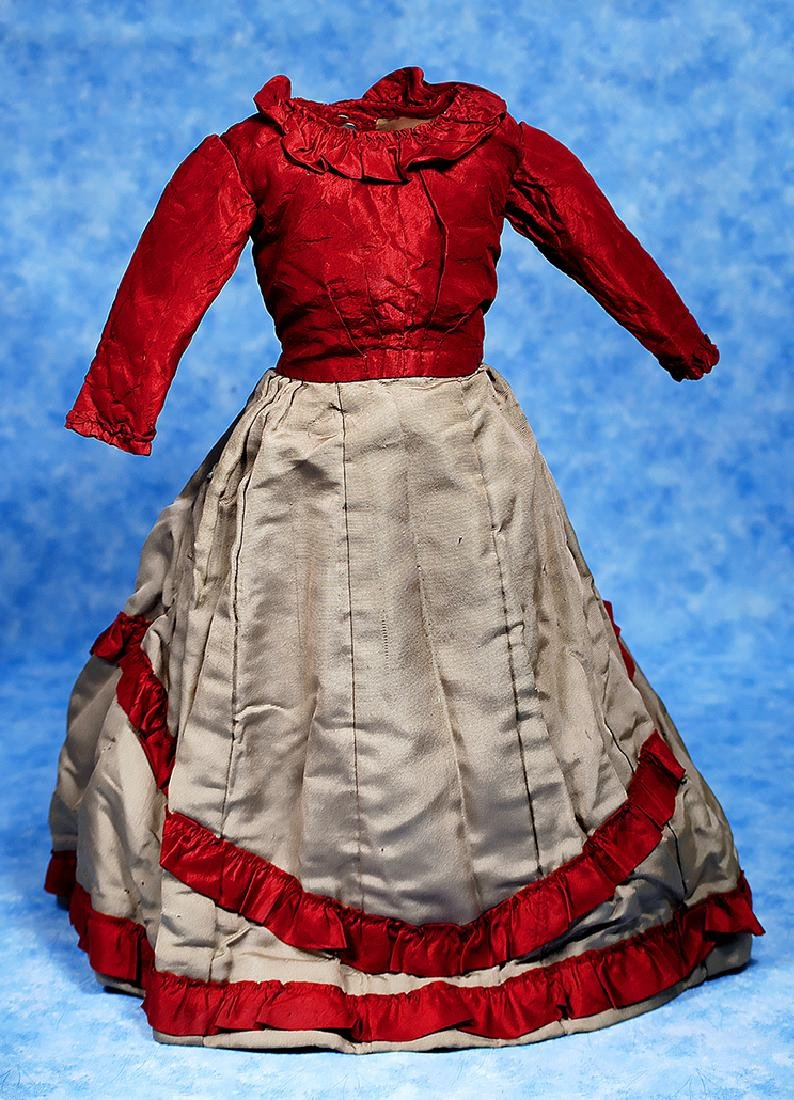 135. ANTIQUE MAROON AND GRAY SILK DRESS. Vibrant