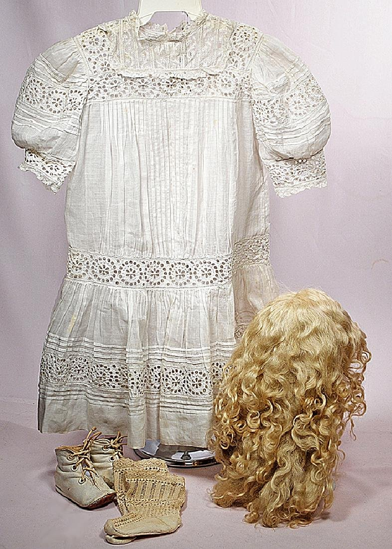 143. ANTIQUE DRESS, WIG, SHOES & SOCKS FOR LARGE DOLL.