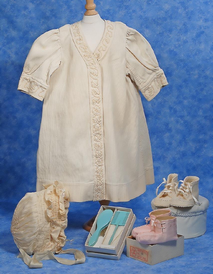 151. ANTIQUE BABY COAT, BONNET & SHOES. Cream cotton