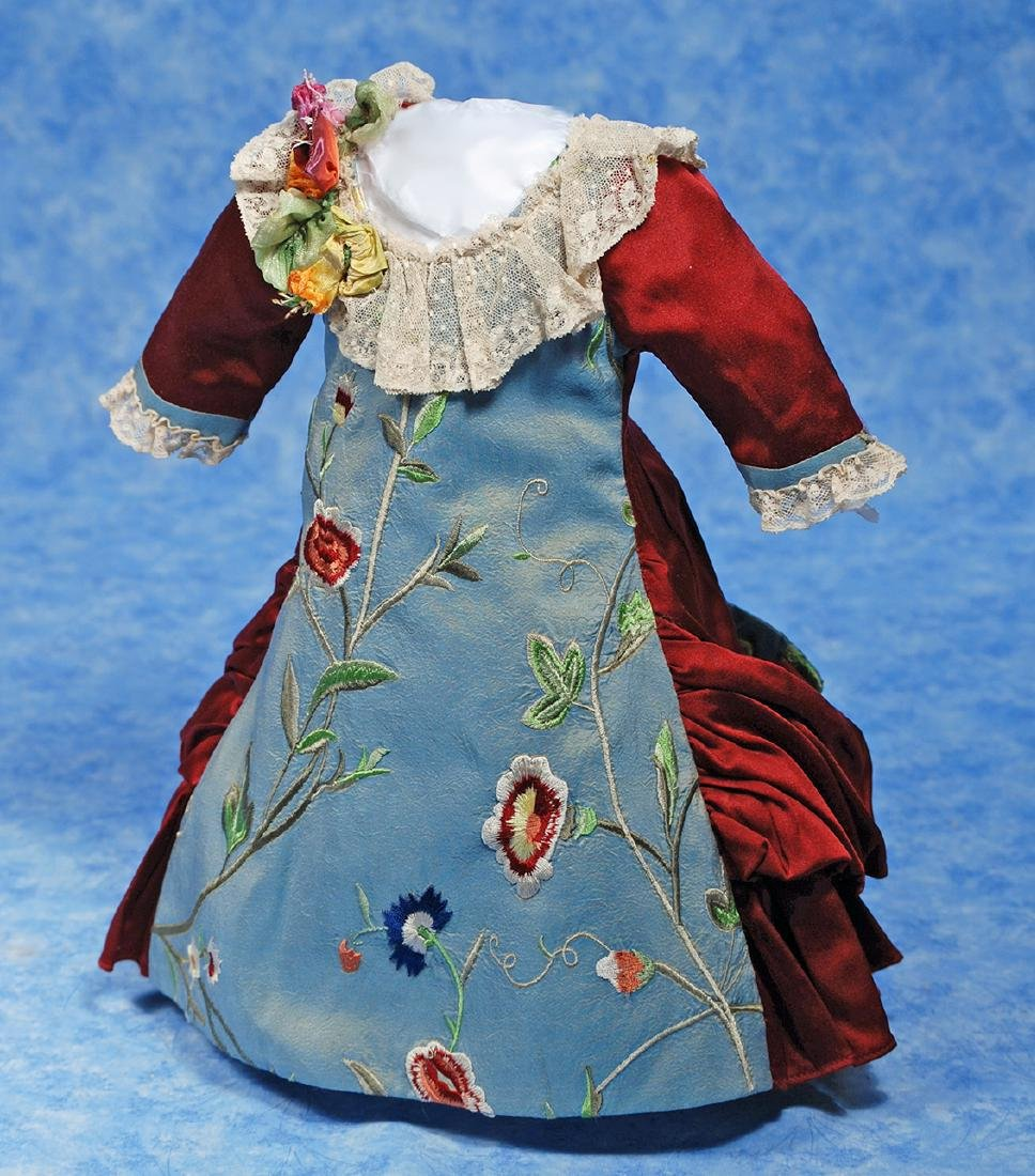 155. LOVELY SILK DOLL DRESS. Fine dark ruby silk dress