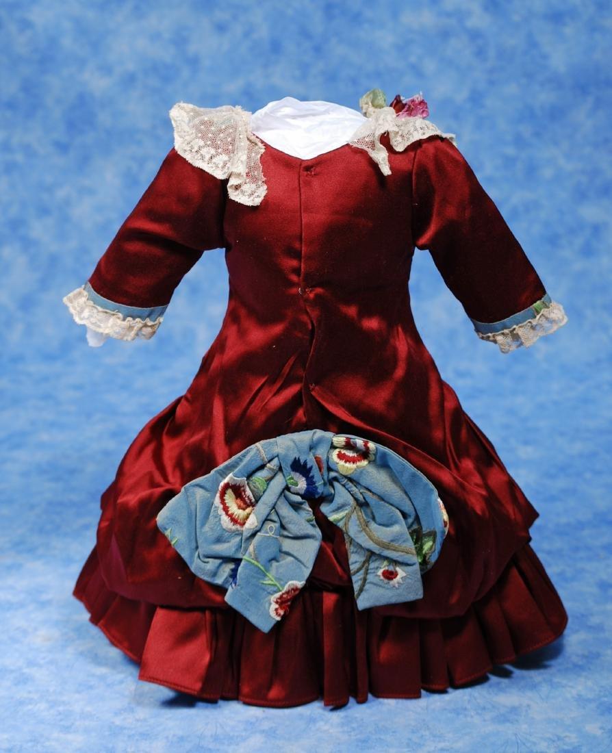 155. LOVELY SILK DOLL DRESS. Fine dark ruby silk dress - 2