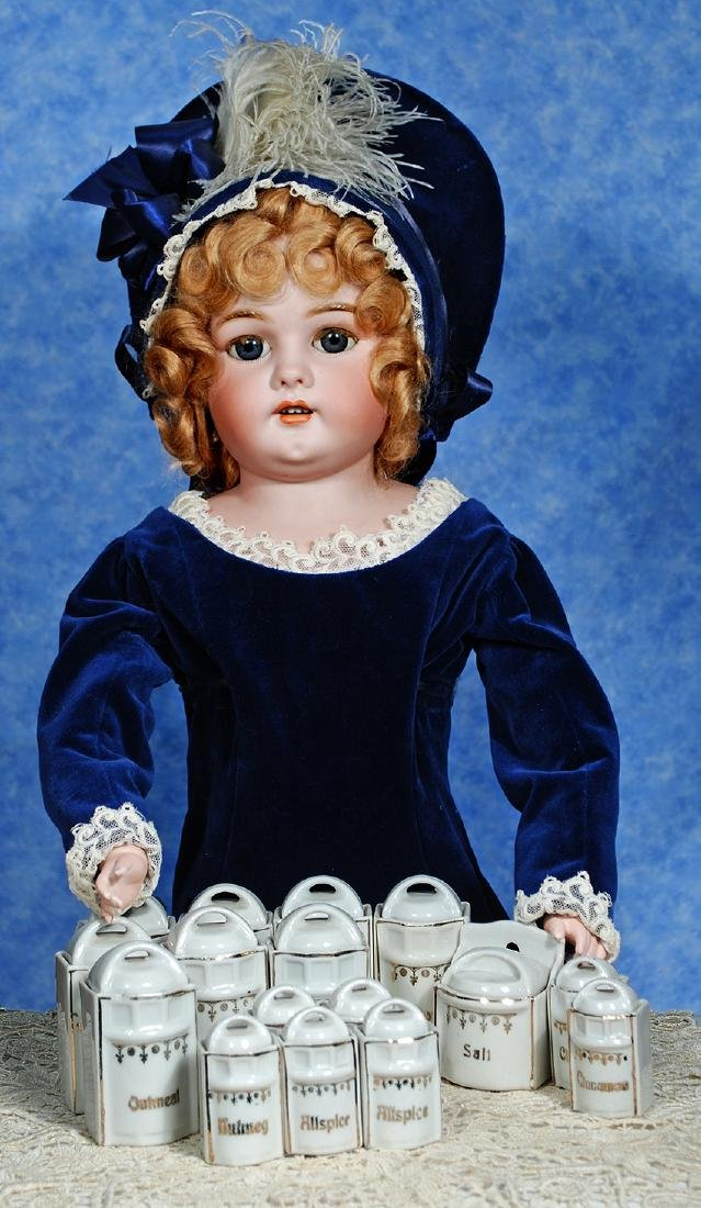 158. MINIATURE GERMAN PORCELAIN CANISTER AND SPICE SET.