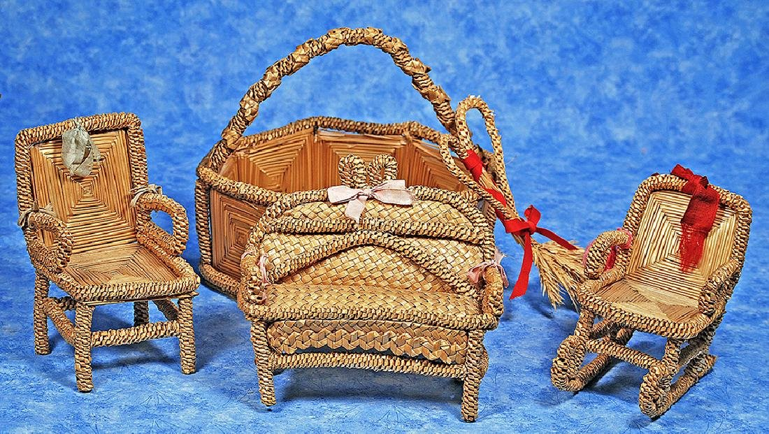 168. FRENCH DOLL-SIZE STRAW FURNISHINGS. Comprising a 6