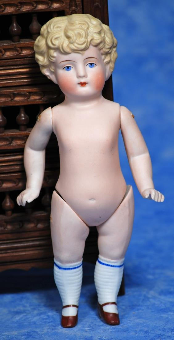 """196. GERMAN ALL-BISQUE DOLL. 9"""". All-bisque, - 2"""