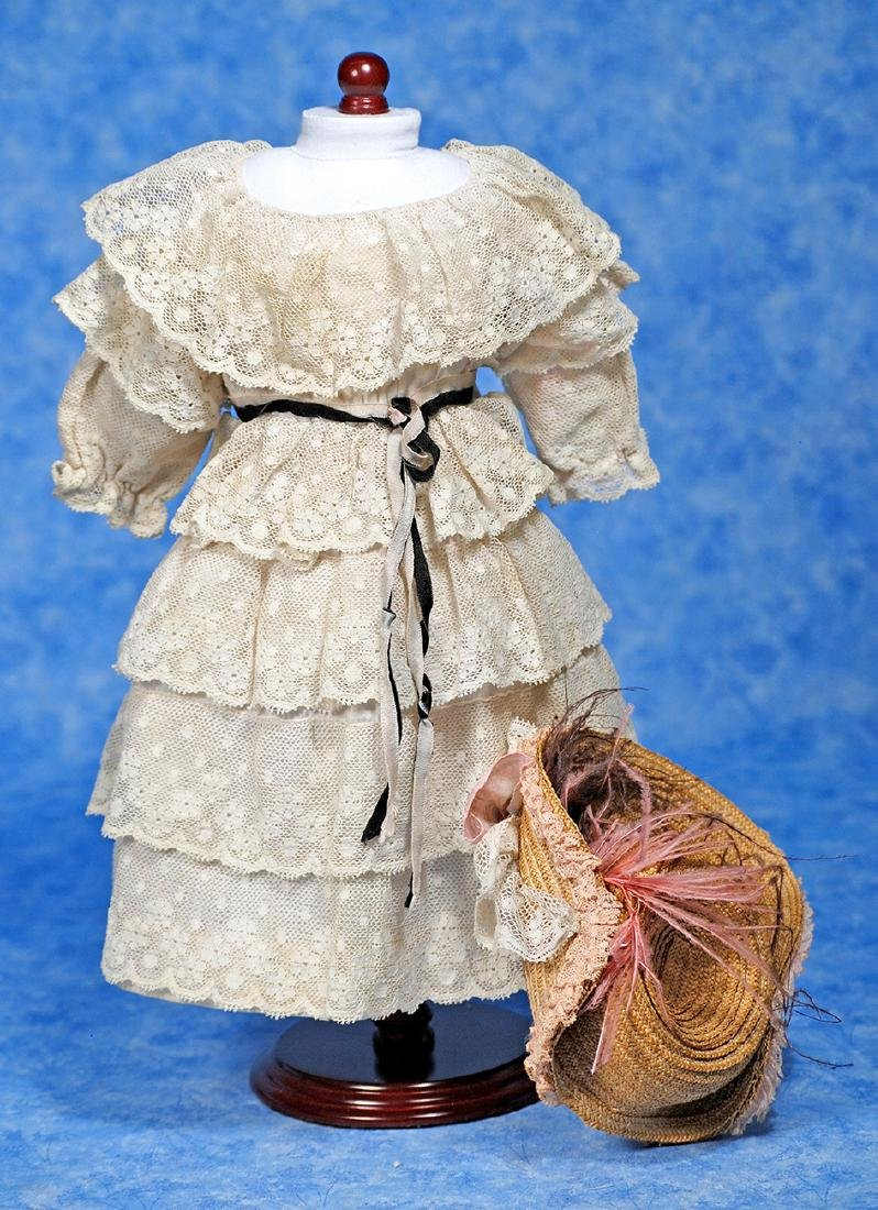 204. ANTIQUE SILK AND LACE DOLL DRESS WITH BONNET.
