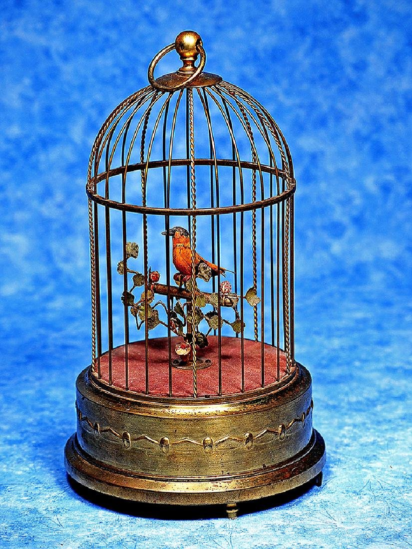 207. GERMAN MECHANICAL SINGING BIRD IN CAGE BY