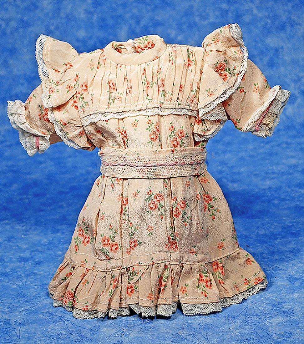 208. JUMEAU STYLE DOLL DRESS. Apricot printed silk