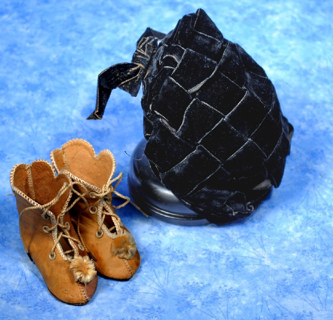 "209. ANTIQUE DOLL BOOTS AND BONNET. 3 ¼"" l."