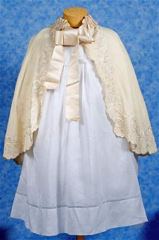 218 ANTIQUE DRESS AND CAPE FOR LARGE DOLLS White