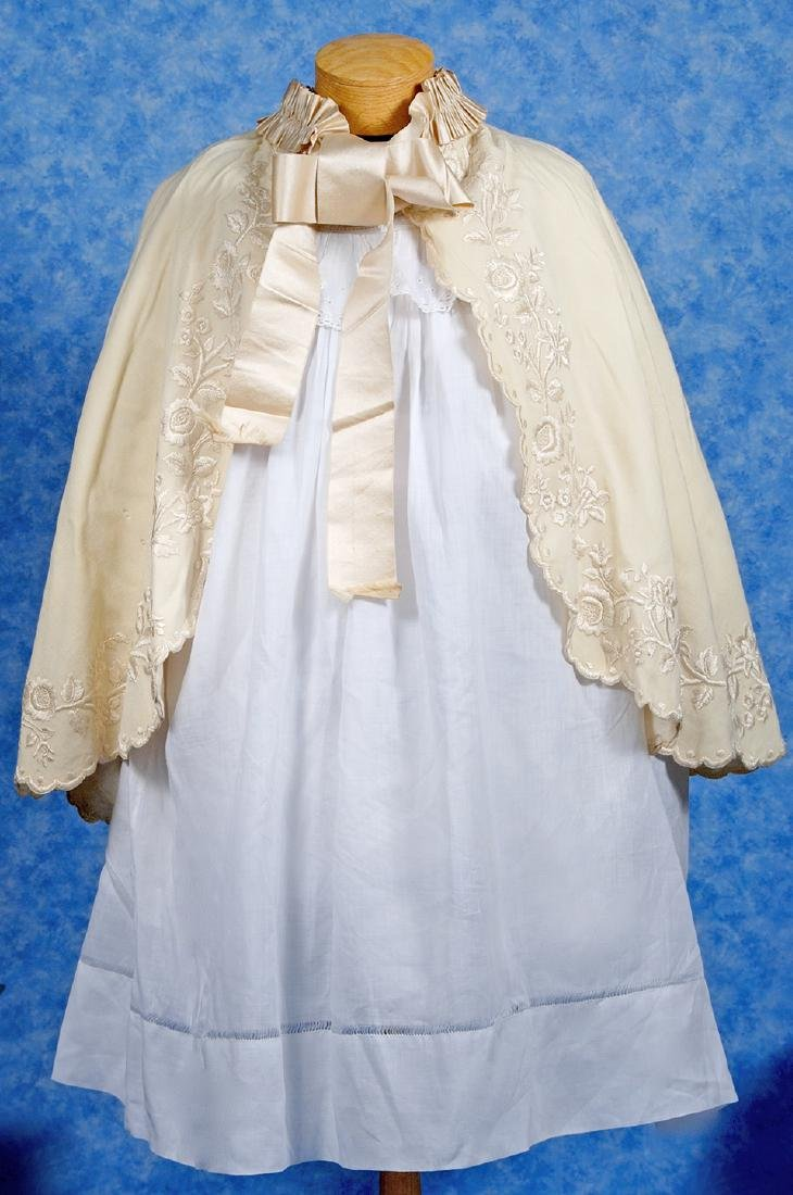 218. ANTIQUE DRESS AND CAPE FOR LARGE DOLLS. White