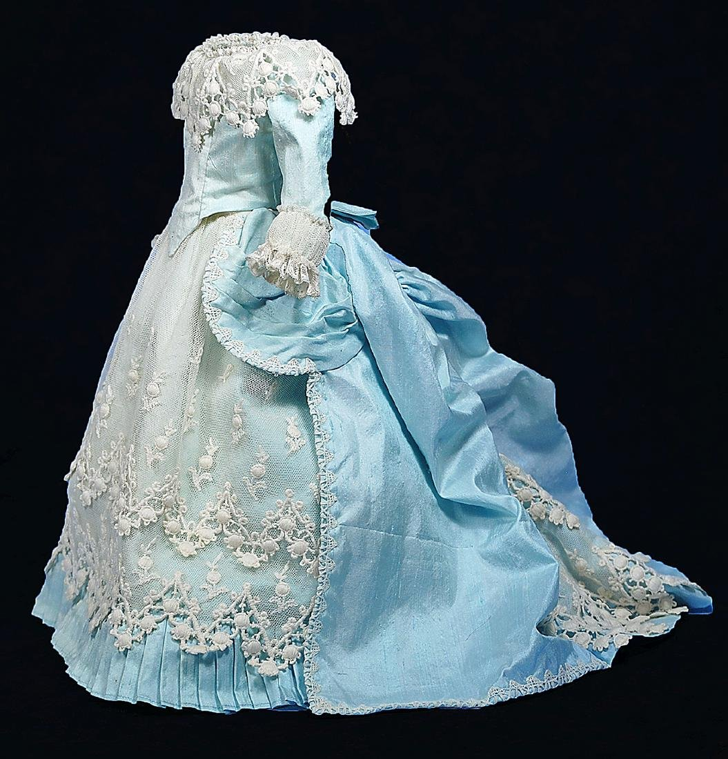 226. BLUE SILK FRENCH FASHION GOWN. Two-Piece gown of