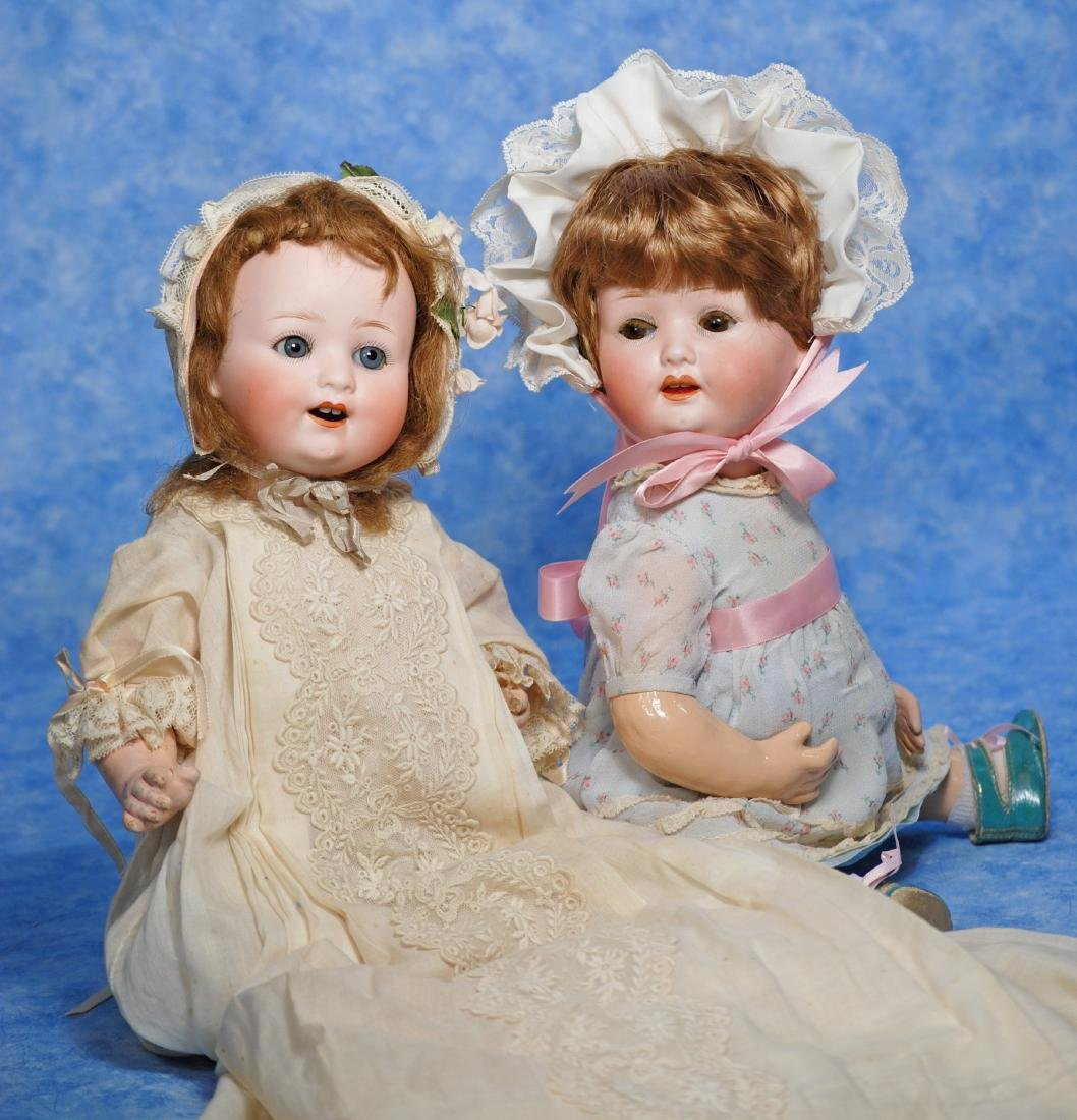 """238. TWO GERMAN BISQUE CHARACTER BABIES. (1) 14"""""""