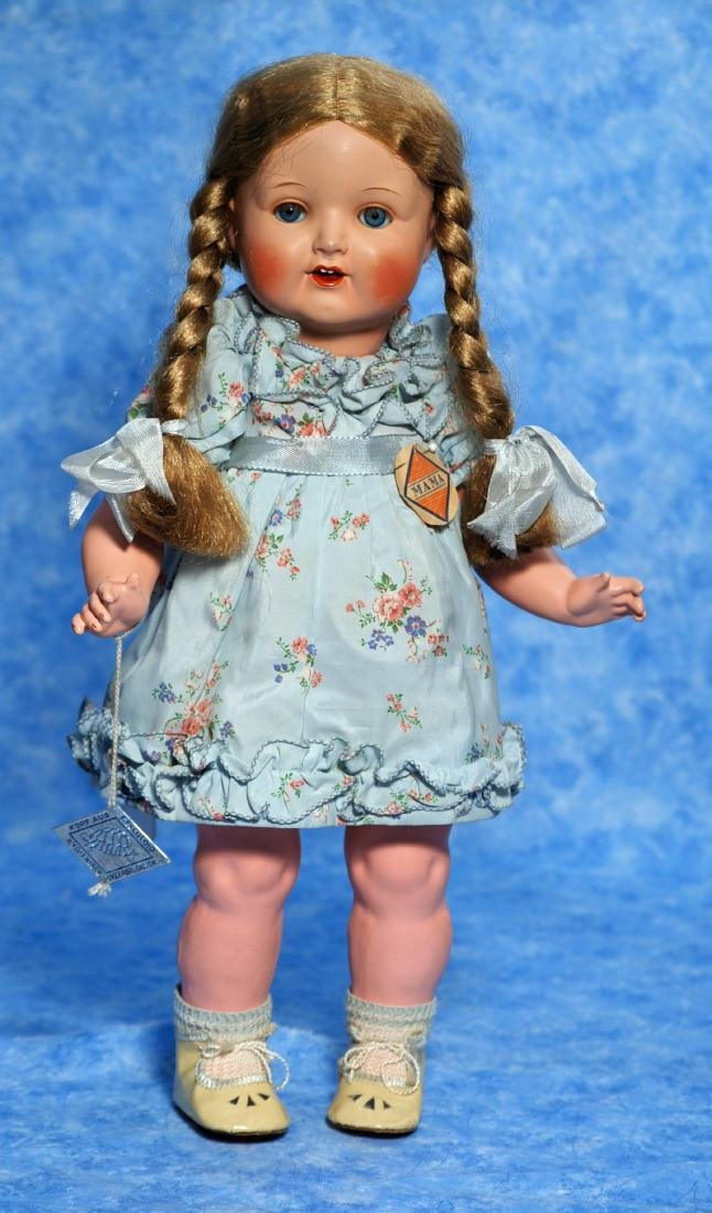 255. ALL-ORIGINAL GLASS-EYED GERMAN CELLULOID TODDLER.