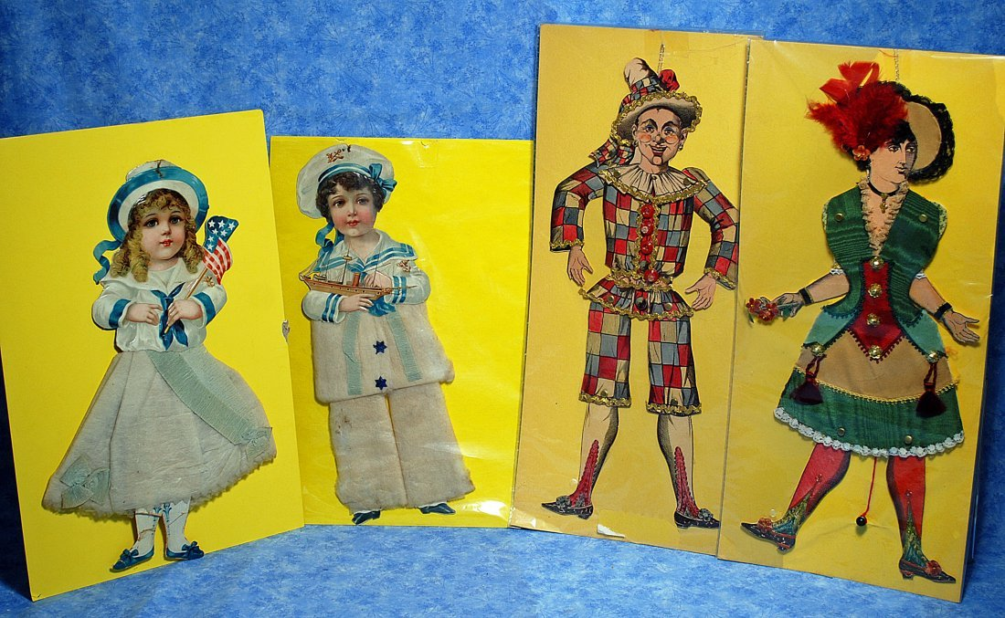 TWO ANTIQUE PAPER DOLLS & TWO FRENCH PANTINS