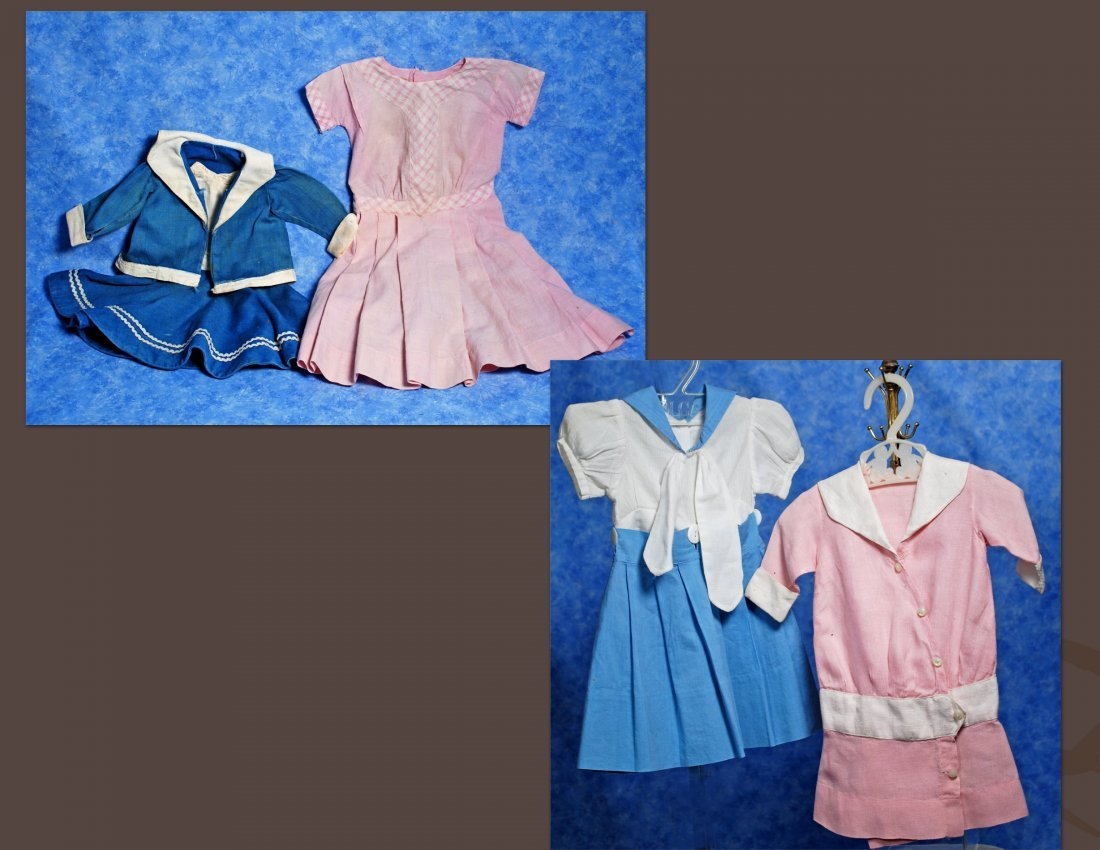 FOUR COTTON DOLL DRESSES.