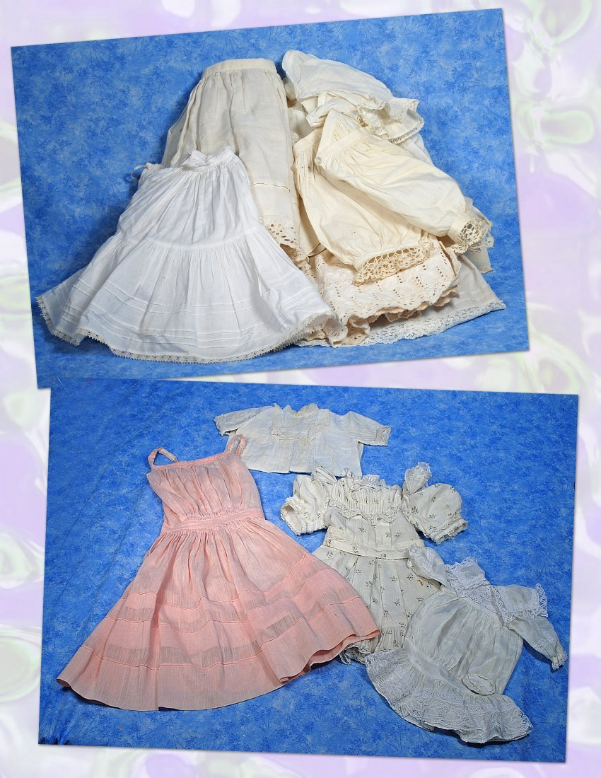 LOT OF DOLL UNDERCLOTHING & CLOTHING.