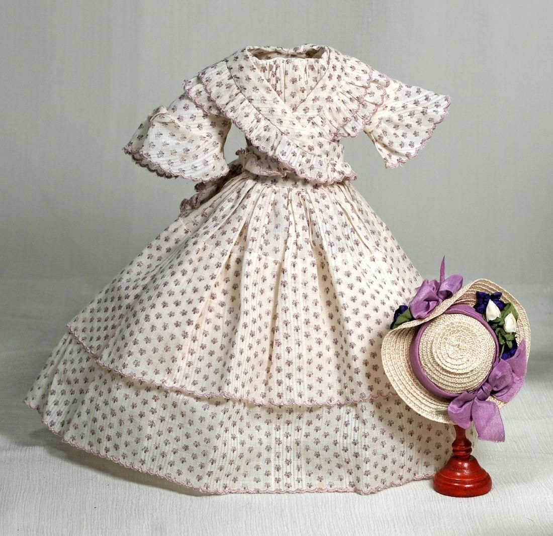 156. HURET-STYLE FRENCH FASHION THREE-PIECE GOWN AND