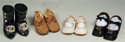 198. FOUR PAIRS OF SHOES FOR LARGE DOLLS. Pair of black