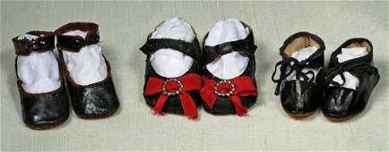 """215. THREE PAIR OF ANTIQUE DOLL SHOES. 2 ½"""","""