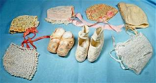 SIX ANTIQUE DOLL BONNETS  TWO PAIR BABY SHOES
