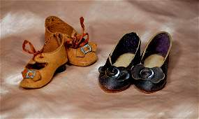 """38. TWO PAIR OF ANTIQUE DOLL SHOES. 2"""" L. pair of"""