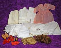 245. DOLL UNDERCLOTHING, DRESS. SHOES, SOCKS, WIGS.