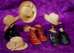248. TWO PAIR OF ANTIQUE DOLL SHOES & FOUR STRAW HATS.
