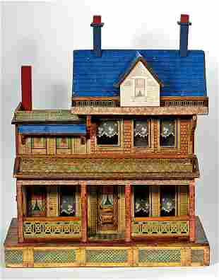 BLISS WOODEN DOLLHOUSE WITH ELABORATE PORCHES AND