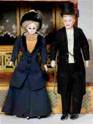 """PAIR, GERMAN BISQUE DOLLHOUSE GENTLEMAN AND LADY 7"""""""