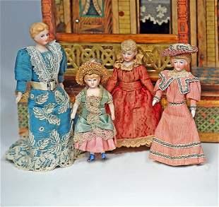 "FOUR GERMAN BISQUE DOLLHOUSE LADIES 4"" to 6 1/2"" Each"